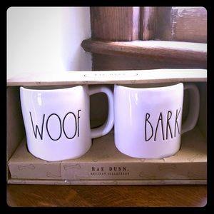 Rae Dunn WOOF , BARK Mug Set